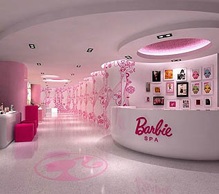 Barbie Room with pink and Barbie logo