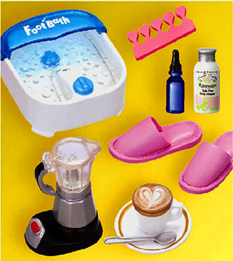 Barbie spa tools including the foot bath, slippers and more