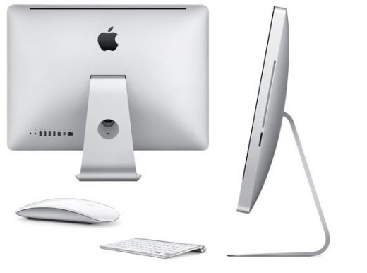 Rear and side views of Apple iMac MC508LL/A with magic mouse and wireless keyboard