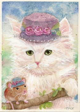 Persian Killy and Mouse in Victorian Hats. Painting by Marie Turco Moslemian
