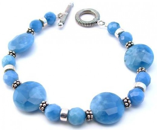Blue Jade Oval-Beaded Bracelet