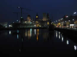 Liverpool's waterfront by night