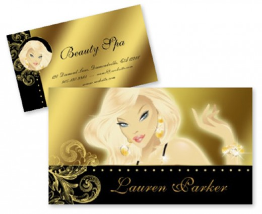 Elegant beauty business cards great for any makeup artist or jewelry designer.  All designs copyright J. van Hoof 2010, all rights reserved.