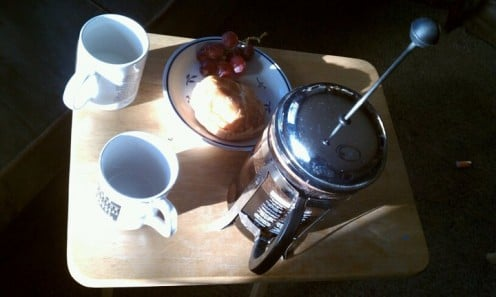 bodum french press precompression with cheddar croissant and red globe grapes