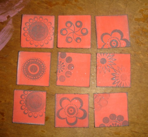 rubber stamped inchies