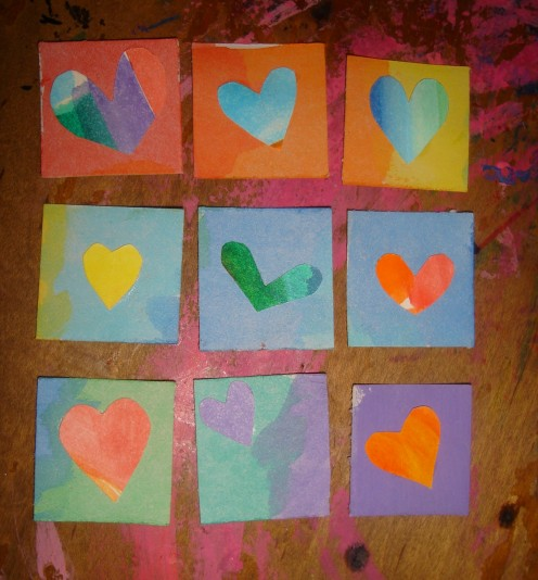 rainbow heart inchies