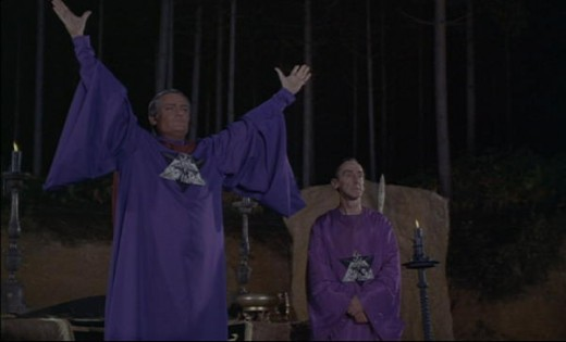 Charles Gray leads his followers in an occult ritual in The Devil Rides Out