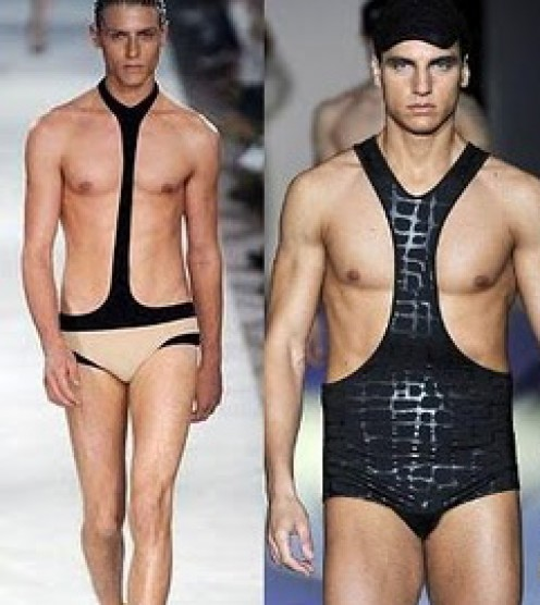 """I cropped off the guy to the left of these, he's as close to a Mankini """"Do"""" as you can get, and it's still a """"Don't"""". The second link below will bring you to the full picture."""