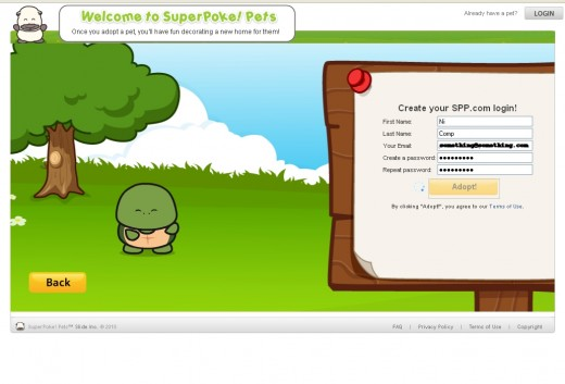 Registering our SuperPokePet