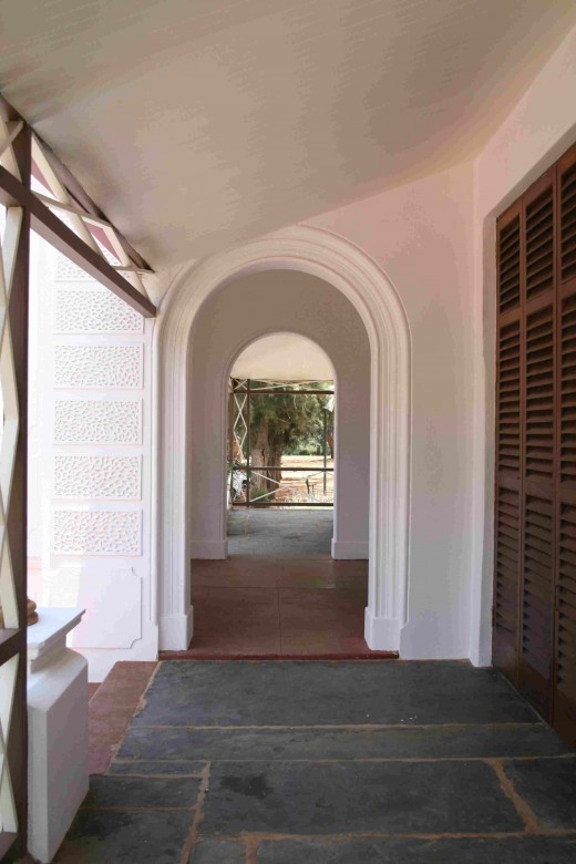 Looking west across the portico