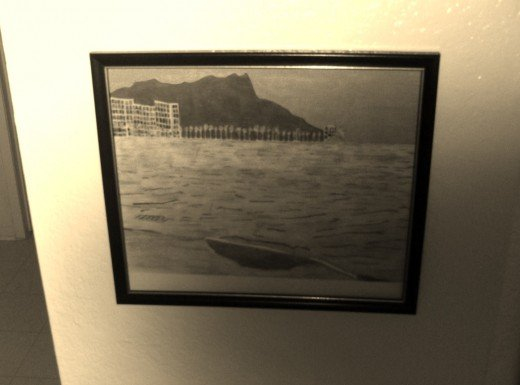 Here is a photograph I took of a sketch I made of Waikiki.  I love how this looks in sepia.