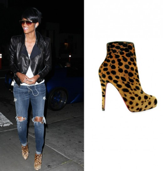 Ciara wearing Christian Louboutin Leopard Low Heel Boots