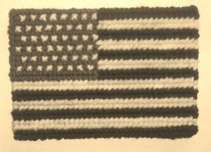 My cross stitched American flag magnet in sepia.