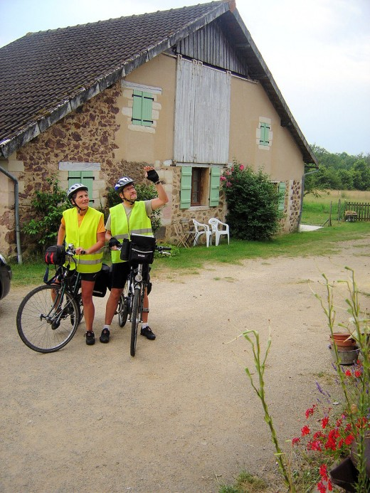 Cyclists outside Gite at Les Trois Chenes