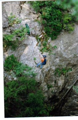 This is a 300 foot rappel. Fun going down, a lot of work climbing up.