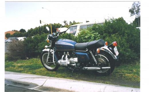 My Honda  Goldwing outside Bikes & Bits Brighton, 1997.