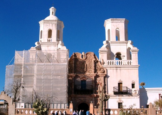 San Xavier Del Bac Mission, and you can see the work they are doing on the mission.