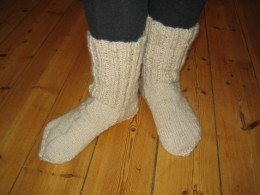 Knitted socks with wool will keep your feet warm!