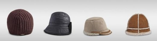 Left to Right... Slouchy Cardy Beanie, Snowbyrd, Visor, Bucket Hats