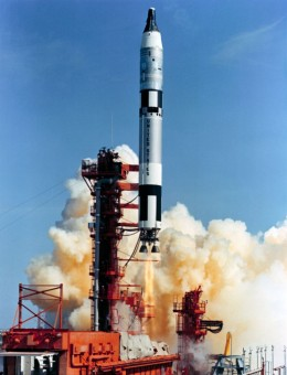 A Titan II rocket launches the manned Gemini capsule into orbit. Photo courtesy of NASA.