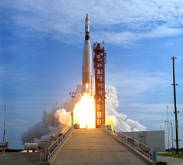 The Agena Target Vehicle is launched using an Atlas booster. Phot courtesy of NASA.