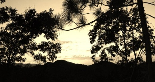 A colorful sunset in the San Bernardino Mountains looks quite different when rendered in sepia.
