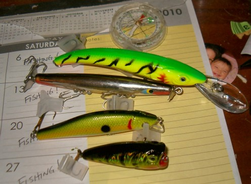 Typical Springtime Bass Lures. The Devil's Horse is second from the top, beneath the firetiger stickbait.