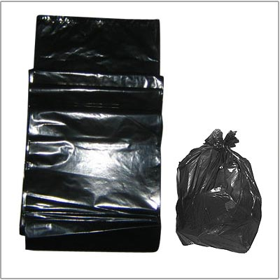 Black plastic trash bag