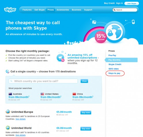 Diagram 8. Purchase a Skype subscription page