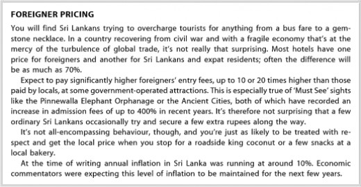 A section from the Lonely Planet Sri Lankan country guide