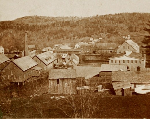 Taken in 1869, many of the Robbins & Lawrence buildings in this photo had been built between 1846 and 1849.  The gun shop has the tiny cupola while the forges and car (RR) shop are on the left side of Mill Brook.