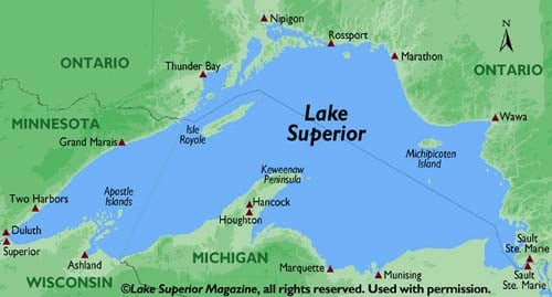 (englishexercises.org) Lake Superior shown in the map above.  Note that that the leg between Superior WI and the locks at Sault Ste. Marie would have taken The Fitz the entire breadth of Lake Superior.