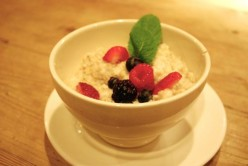 Le Pain Quotidien's $5.50 oatmeal is a bit pricey, it's a simple, perfect bowl: thick, milky steel-cut oats with berries dotted on top. Photo from http://newyork.seriouseats.com