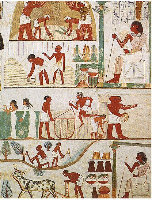 Egyptian wall painting Tomb of Nakht, 18th Dynasty Thebes