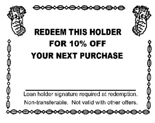 An example of a printable discount coupon