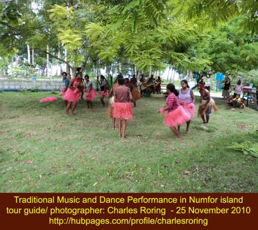 traditional dance and music performance in Rarsibo village of Numfor island of Papua province, the Republic of Indonesia