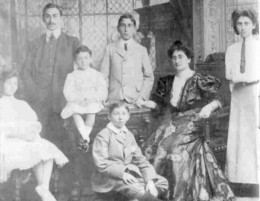 The Marks family: (L to R) Fanny Beatrice (Dolly); Louis (YLL); Philip; Joseph; Theodore (on floor); Bertha; Gertrude (Girlie/Gai). Image Sammy Marks Museum