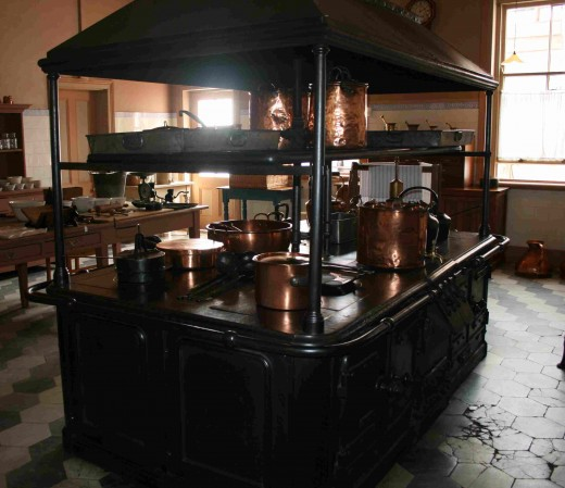 The huge kitchen range imported from Scotland. It came to the house in four sections and was assembled in the kitchen.
