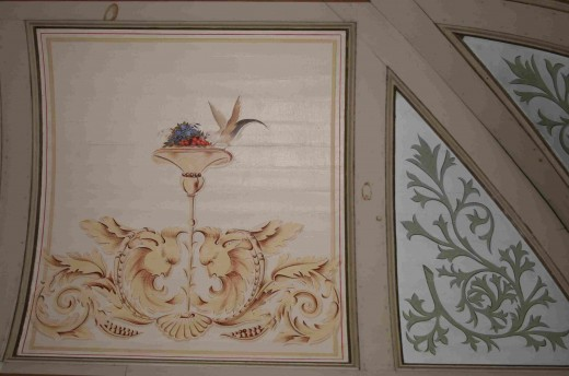 Painted decorations in the ceiling of the billiard room These were done by an Italian craftsman from Pretoria