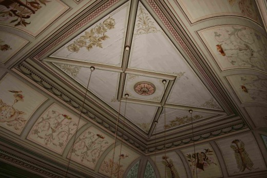 A view of the ceiling of the billiard room