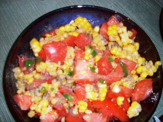 Simple recipe for delicious spicy corn and tomato salad.
