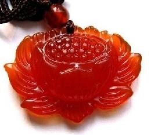 Carved Carnelian Lotus Amulet