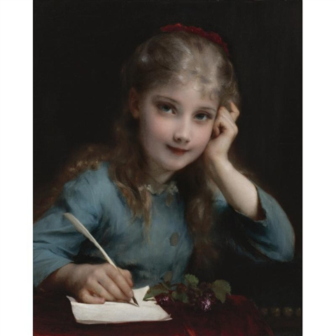 """""""A young girl writing a letter"""" by Etienne Adolph Piot."""