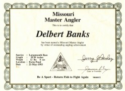 A certificate that I was presented with by the Missouri Conservation Dept. for the near record bass.