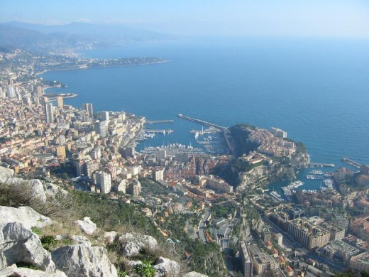 View overlooking Monaco and the Mediterranean coastline