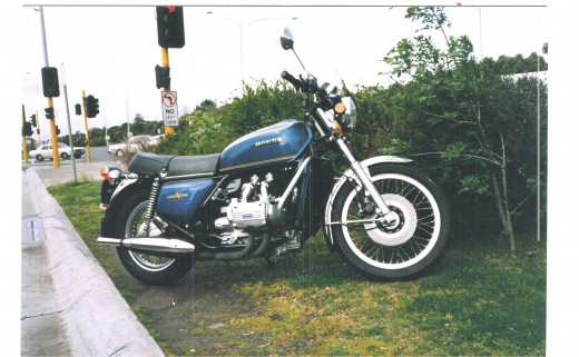 My 74 Honda Goldwing. A heavy touring bike with 100 hp I found the original brand of tires worked best. (Picture is copyright.)