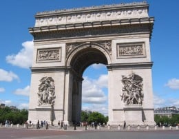 Arc de Triomphe, Paris 1806 was commissioned by Napoleon during the height of his rule and designed by Piercier and Fontaine. It displays two blind arches on either side of the main arch.