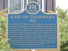 Plaque commemorating incident at Gananoque in the War of 1812