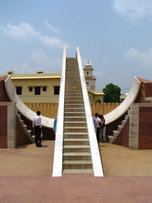 This sundial in Jantar India is capable of measuring down to two seconds. It is used to track the annual path of the sun and thus timing for all kinds of events, religious and secular.