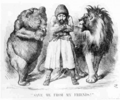 """Punch"" cartoon from 1878. The amir in the middle is Shir Ali who wanted an alliance with Russia."